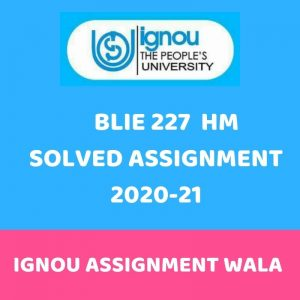 IGNOU BLIE 227 HINDI SOLVED ASSIGNMENT 2020-21