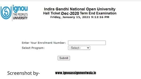 ignou hall ticket feb 2021