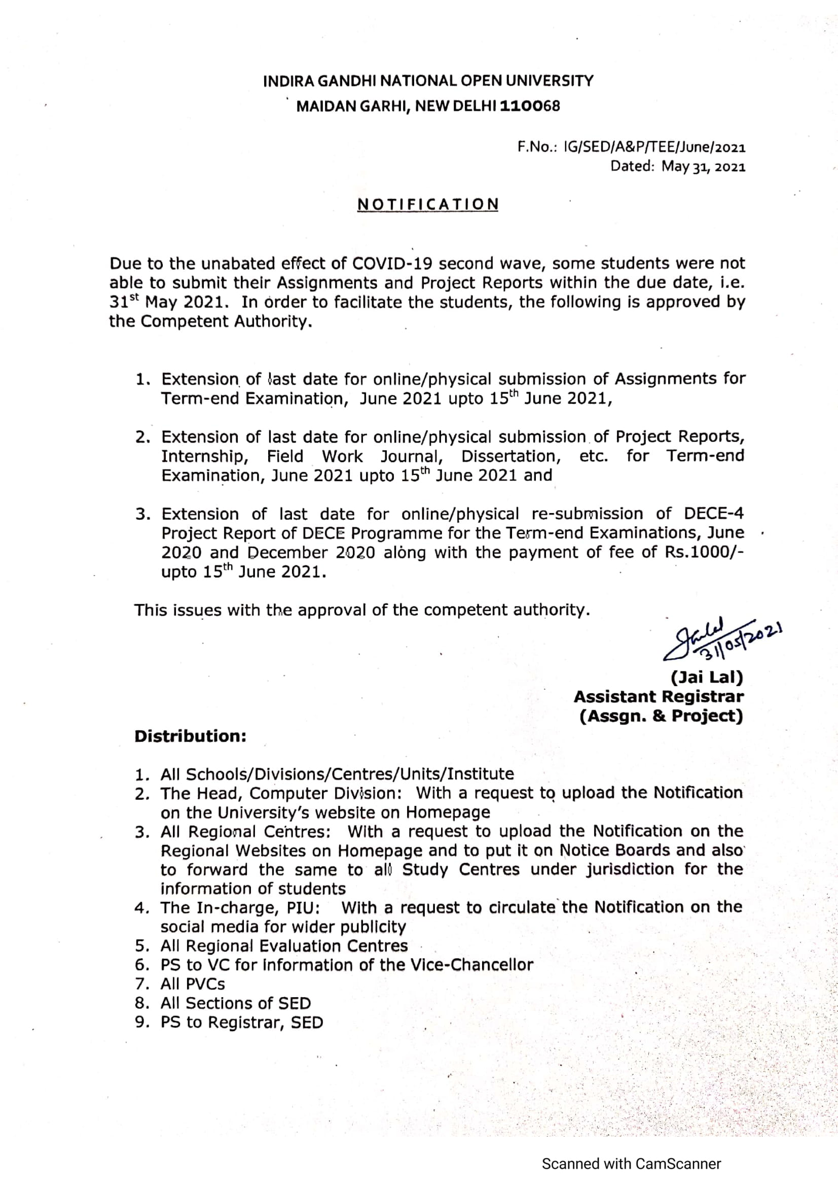 ignou notice 31 may 2021